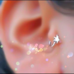 ⭐️925S Star Nose Ring Cartilage Hoop Earring